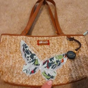 Sakroots Tan Straw Butterfly Bag